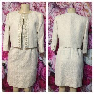 TAHARI Ivory Beaded Jacket Dress Suit Size 6P